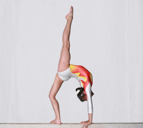 Chinese girl in gymnastics poses